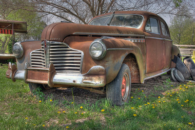 This rusty old Buick Eight was new in about 1941, give or take. Red Oak, Missouri. (HDR tone mapping with Detail Enhancer.)