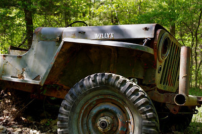 WWII-era Willys Jeep, nature trail, Gaston's Resort, Lakeview, Arkansas.
