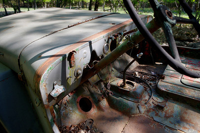 Dashboard detail - WWII-era Willys Jeep, nature trail, Gaston's Resort, Lakeview, Arkansas.