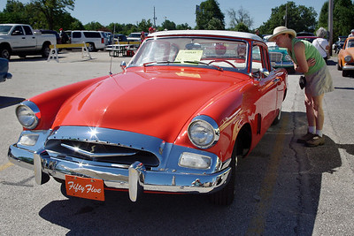 Rita checks out the 1955 Studebaker Commander Coupe. 47th Annual Studebaker Drivers Club Meet, Springfield, MO. June 23, 2011.