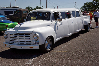 Stretch Studebaker pickup seats six in comfort.