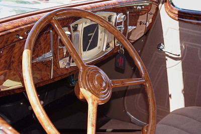 Wood dash and steering wheel detail; 1934 Studebaker Commander. 47th Annual Studebaker Drivers Club Meet, Springfield, MO. June 23, 2011.