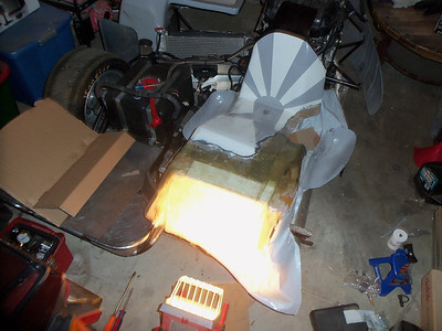 Heating the first plies of fiberglass to get them to cure. Was cold that night.