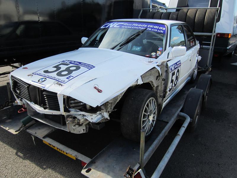 Trialler Chris Maries broke his BMW in qualifying