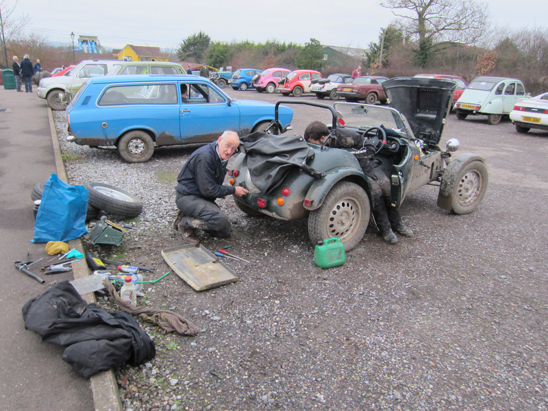 Graham and Barry Redmayne fixing their Petrol Tank at the Crealy Park Breakfast Halt