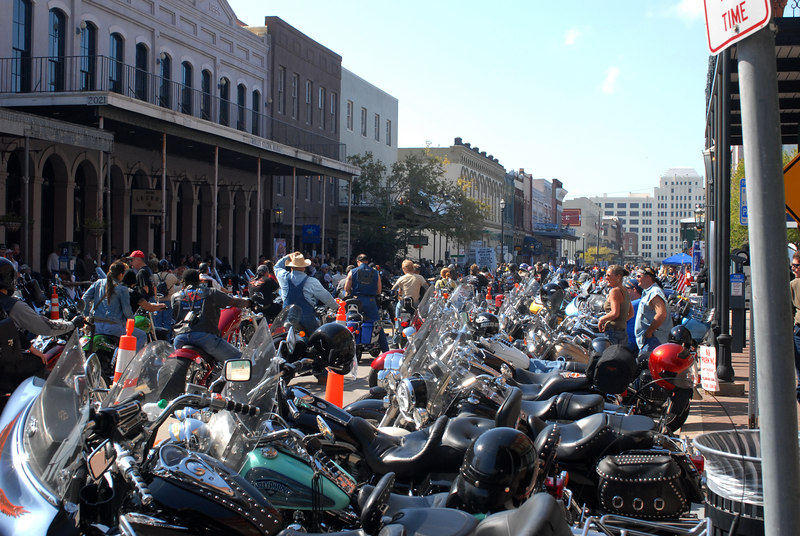Looking North on The Strand in Galveston, Texas.  Occasionally several bikers will rev their engines at the same time.  Who says you have to be in California to feel the ground move?!!!