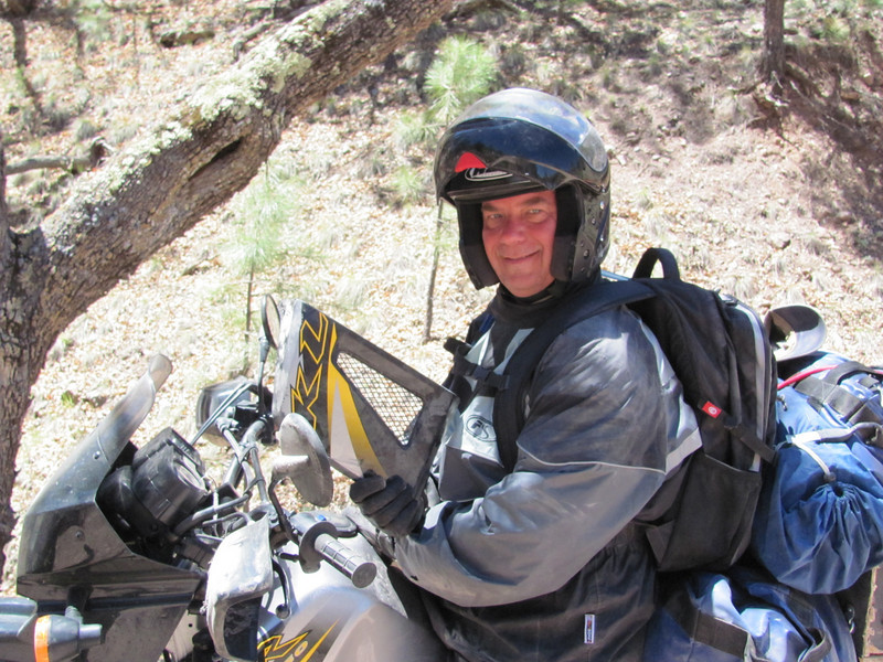 Todd on his broke'in up KLR....