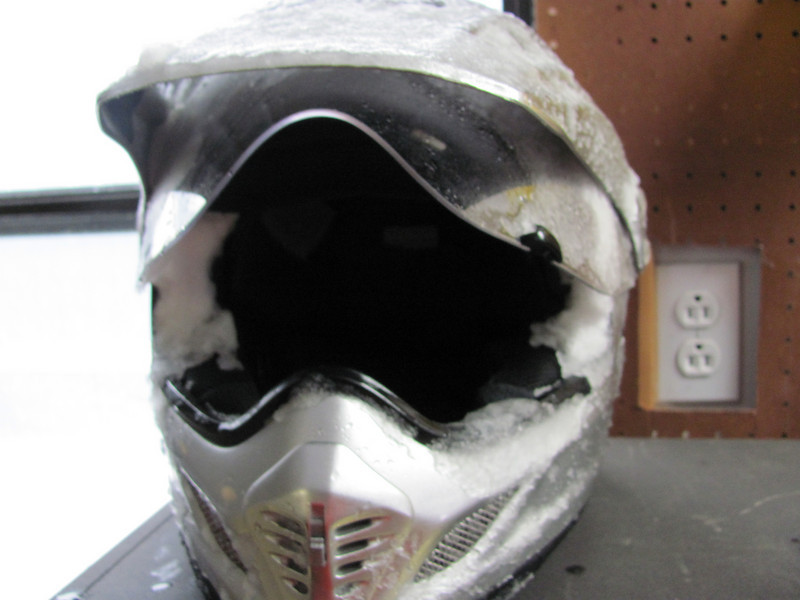 my helmet caked with snow!