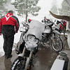 Snow storm....you can see our bikes got hammered!   our near death experience....