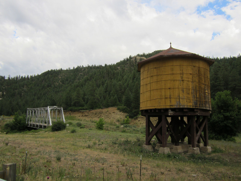 Old railroad bridge and water tank out in in boonies around Pagosa Springs CO.
