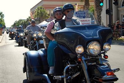 033 Biker on Main St in Leesburg Florida during 2009 Bike Fest