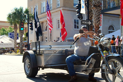 032 POW and American flags with biker at Leesburg Bike Fest 2009