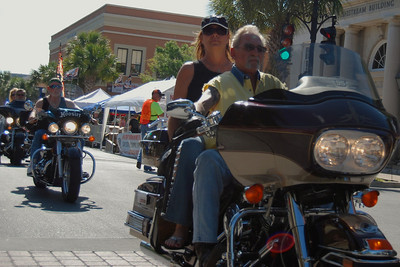 034 Biker on Main St in Leesburg Florida during 2009 Bike Fest