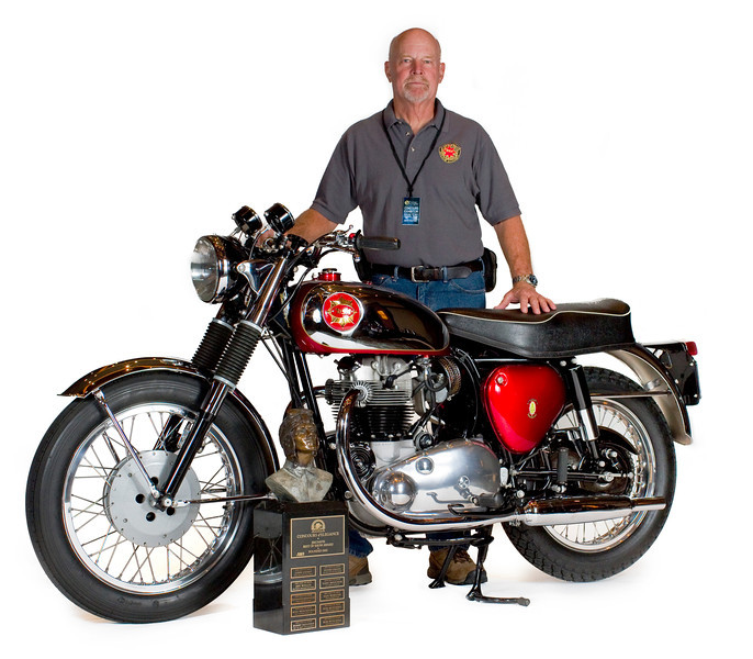 Owner Jerry Garrett from Denver, Nev., poses with his Best of Show winning 1963 BSA Rocket Goldstar at the 2012 AMA Motorcycle Hall of Fame Dave Mungenast Memorial Concours d'Elegance at the Red Rock Casino, Resort and Spa in Las Vegas. Photo courtesy of the American Motorcyclist Association.