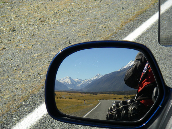 Riding away from Mt Cook