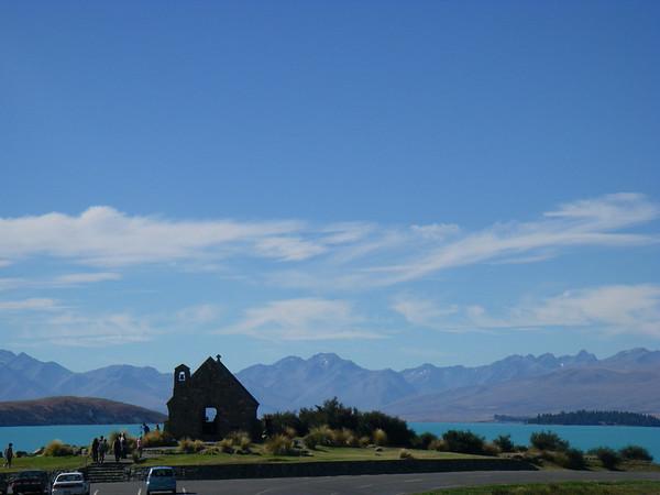 Over looking the church at lake tekapo