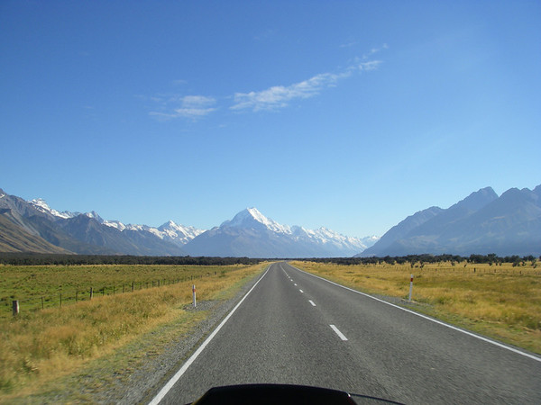 riding into Mt Cook
