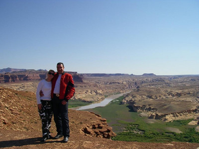 Kaz and John overlooking the Glen Canyon, and the Dirty Devil River which flows into Lake Powell and the Colando River.