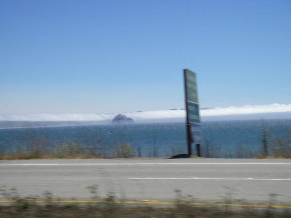 This is on the way up Hwy 1 from LA with the fog rolling in. As we rode up the highway we would hit patches of cold wind 50 degrees fh and then within 1 mile we would hit a warm patch measuring 75 degree fh.