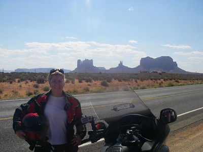 Kaz on the road to Monument Valley.
