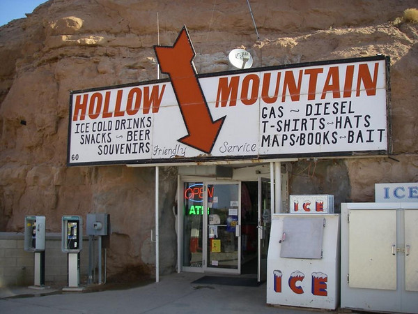 A Gas station built into the side of Hollow Mountain.