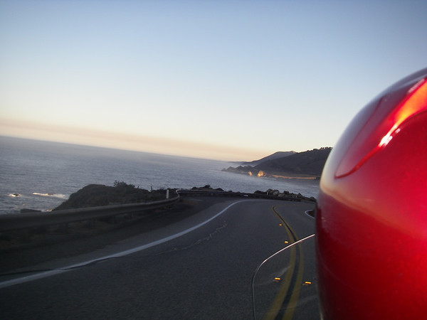 Morning sunrise over the west coast as we head North along Highway One to Carmel.
