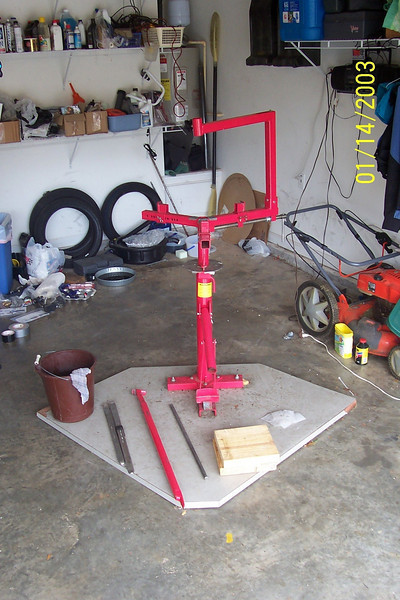 """I mounted my Harbor Freight tire changer to an old desk top that is 45"""" x 45"""".  When I'm not using it, I can slide it against the wall out of the way"""