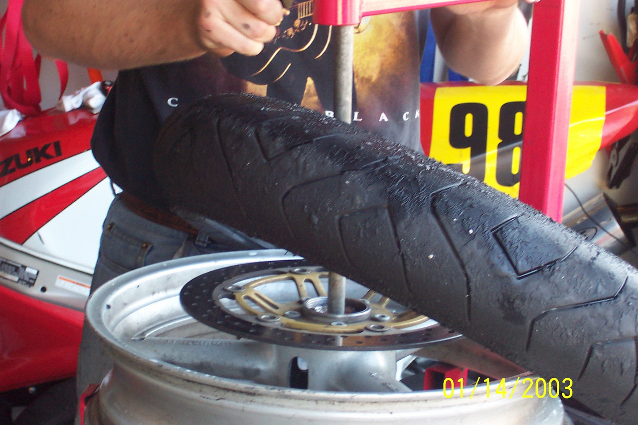 The tire will come off with ease.<br /> <br /> Make note of what direction the tire was oriented if your front rim isn't easily identifiable with a left vs right.