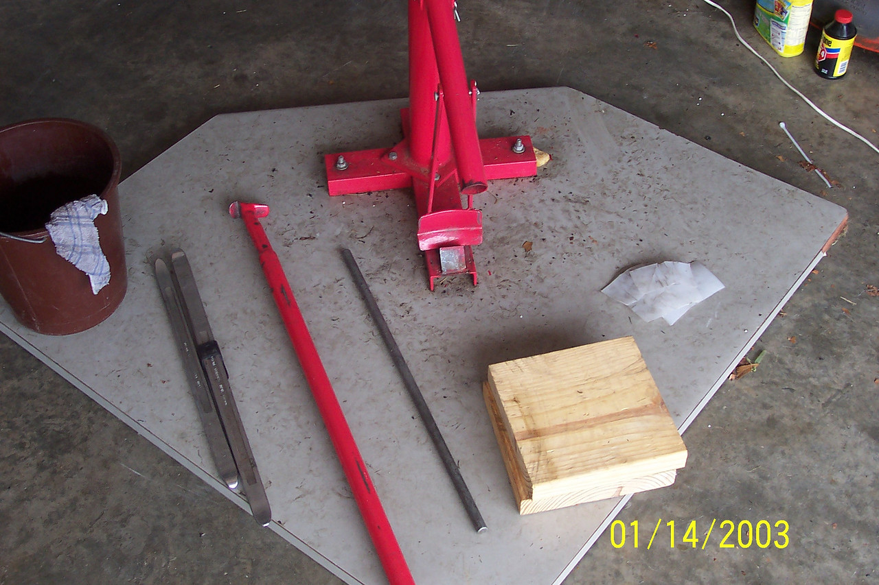 """The Red tire iron and the 2 metal rods to put through the axle hole come with the changer.<br /> <br /> Tools you need:<br /> * Soapy Water<br /> * Rim procetcors<br /> * Valve stem remover<br /> * 2 additional 20""""-23"""" tire irons<br /> * a block of wood"""