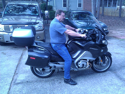 Bruce with feet flat on Corbin seat.  I realize I'm always going to be higher on the Russell seat and that is fine as I'm looking for it to be more comfortable on long trips, but I want to get enough of my feet down to feel comfortable when coming to a stop.