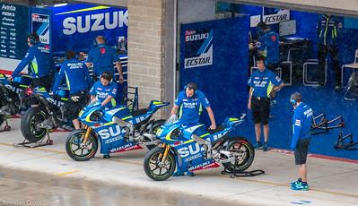 New Suzuki bikes getting warmed up.