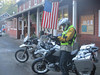 Ready to leave after a nice breakfast.  This is Bart on his 1200GS.  <br /> <br /> We also purchased sandwiches to go.  More later on those.