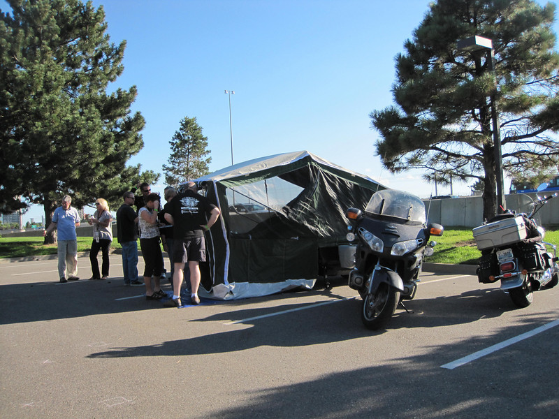 Terry & Lynda Lahman's ASPEN tent trailer demo.  It was a real hit.  I found it interesting that two riders from the Seattle area showed up towing trailers (Lahman's and us).