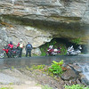 Claye, Russ, & Grizz taking time to flower sniff at Bridal Veil Falls on US64 west of Highlands, NC.