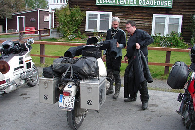 9/3/06 - By the time we had finished lunch, we had been joined by two other two-wheel travelers.  This Albert, from Spain by way of South America, and Mike from Juneau is riding the white GL1500.