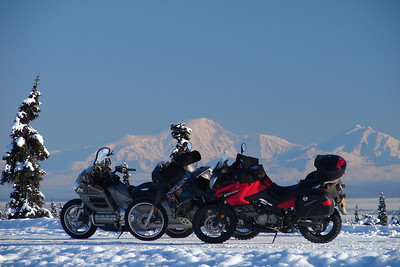 11/5/06 1:07 PM - Just up the highway from Eureka Lodge, a large pullout offers the perfect setting for a series of shots of the 3 bikes that ventured out today. Mt Sanford and Mt Drum, over 90 miles distant, provide a picturesque backdrop.