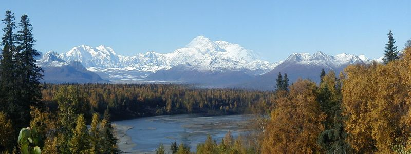 Panorama - Denali (The Great One) across the Chulitna River.  Taken from an overlook on the Parks Hwy.