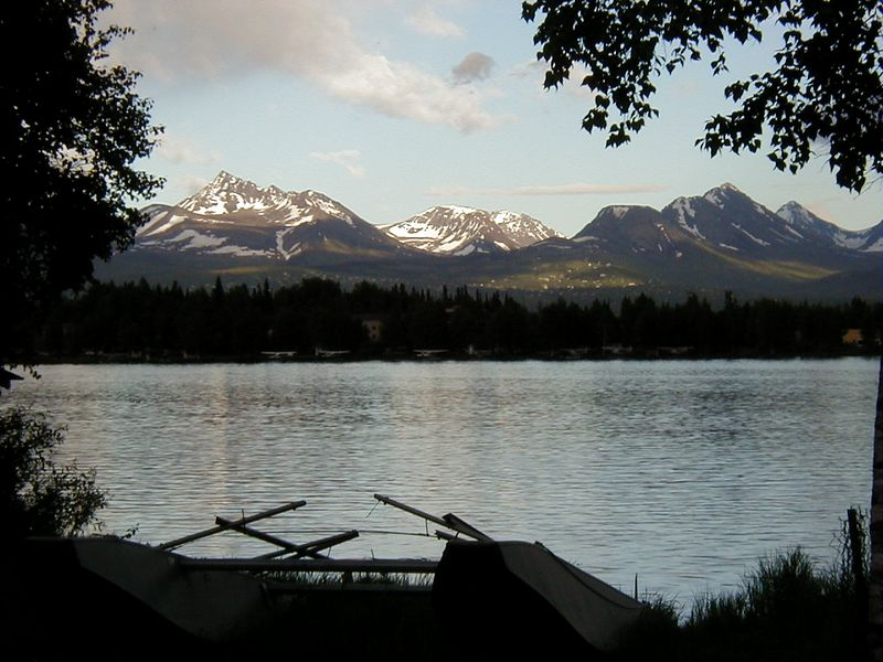 The Chugach Mts. above Anchorage as seen over Lake Spenard.