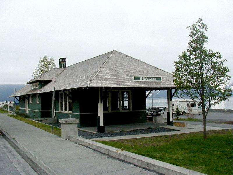The old Seward railroad station.  Prior to the '64 earthquake there was a dock behind the building, and tracks between the dock and the station.  Alaska Steamships freighters would tie up at the dock to unload into boxcars and flatcars.