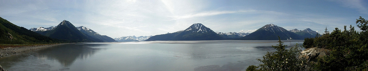 """Another panorama - this one of Turnagain Arm from just south of Girdwood.  Again, viewing it in """"original"""" size gives the best effect."""