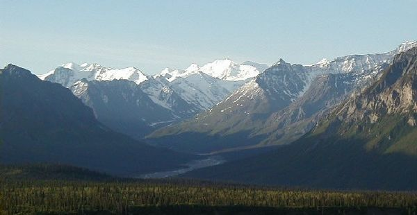 The South Fork of the Matanuska River.  This valley is very picturesque any time of year.  At one time, not all that many years ago, the glacier came all the way down the gravel plain seen in this photo.
