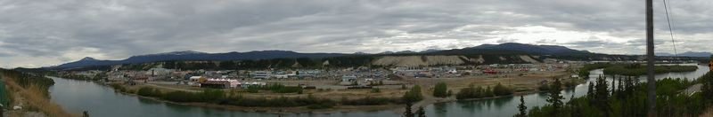 "Panorama - Whitehorse, Yukon as viewed from the opposite side of the Yukon River.  It is suggested that you view this at ""original"" size, and scroll across in order to get the full effect."
