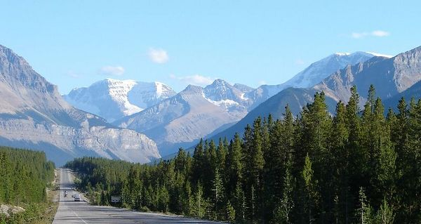 Icefields Parkway through Jasper National Park, Alberta, Canada.  The Canadian Rockies at their finest.