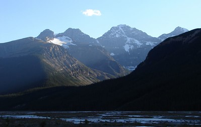 Second view of mountains across Sunwapta River along Icefields Parkway, Jasper Nat'l. Park.