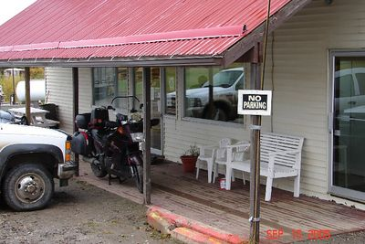 Headed back home:  Hotel at Wonowon on the Alaska Highway (Alcan to us old-timers).  It was raining when I arrived the night before, so the desk clerk suggested I park the bike under the protecting porch roof.  The night before, there was an older Gold Wing also parked on the porch, with the owner headed south after touring Alaska.