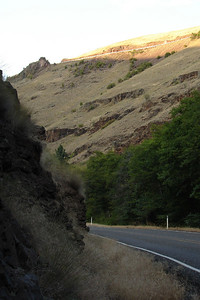 Saturday, July 22: Just after crossing the Grande Ronde, looking ahead to the north, and the highway we'll ascend to after a few more switchbacks.