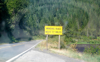Sunday, July 23: Entering the Clearwater National Forest along US-12 next to the Clearwater River, this sign describes the highway up to Lolo Pass.