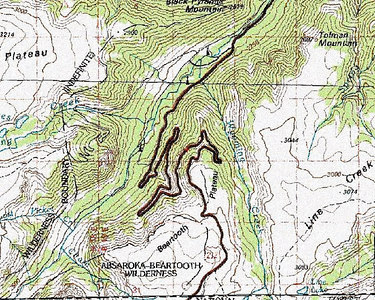 Monday, July 24: This topo map shows the general route of the Beartooth Highway as it climbs from the Rock Creek Valley up to the Beartooth Plateau.