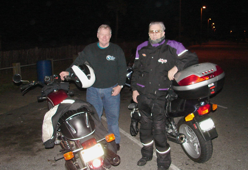Wednesday - 3/8: These two fine gentlemen came out late on a chilly night to escort me to the oceanside where I could finish my cross-country ride, and also signed my witness forms to make it official.