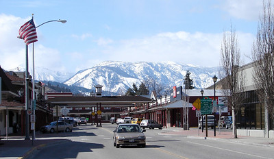 Saturday - 3/18:  Looking west toward the Cascade Mts. over the business section of Cashmere, WA.